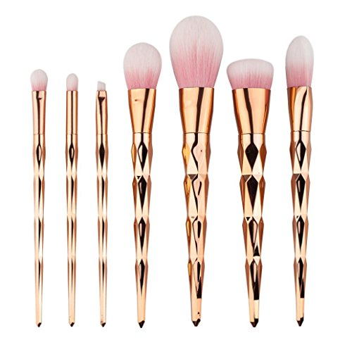 BZLine® Pinceau Maquillage, 7Pcs Pinceaux Professionnel & Brush Cosmétique pour les Poudres, Anticernes, Contours, Fonds de Teints et Eyeliner - Or rose