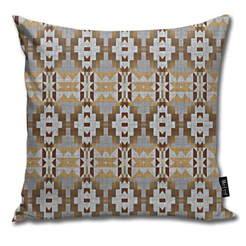 popluck Decorative Pillow Cover Brown Taupe Tan Gray Native American Indian Mosaic Pattern Square Home Decor Pillowcase 18x18 Inches Native American Indian Cover