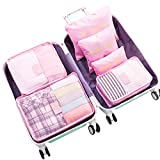 WOWTOY 6PCS Packing Cubes Value Set for Travel Luggage Organiser Bag Compression Pouches Clothes Suitcase, Pink
