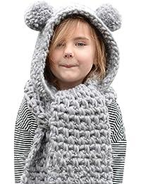 Amlaiworld Otoño invierno lana sombreros de punto Niñas bebé chal capucha Gorro bufanda