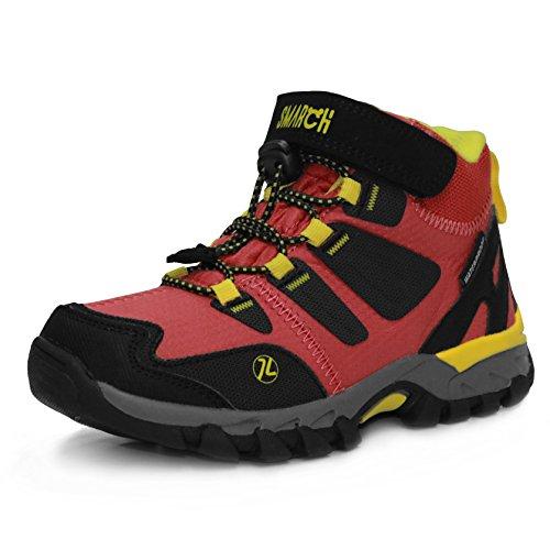 Kinder Kalt-wetter-stiefel (Kinder Wanderschuhe Trekking Stiefel Jungen Mädchen Lace up Velcro Walking Boots Schuhe Wasserdichte Rutschfeste Kletterschuhe EU 28-35 (29 EU/19.33 cm, Korallrot))