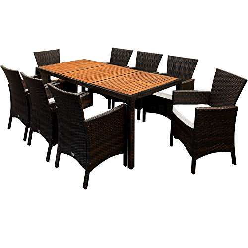 Deuba Poly Rattan Sitzgruppe 8+1 braun | 7cm dicke Sitzauflagen | Tischplatte aus Akazienholz | wetterbeständiges Polyrattan [ Modellauswahl 4+1/6+1/8+1 ] - Gartenmöbel Gartenset Sitzgarnitur Set - 4