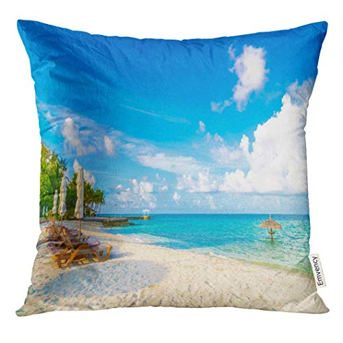 Throw Pillow Cover Resort Beach Chairs with Umbrella at Maldives Island White Sandy and Sea Caribbean Decorative Pillow Case Home Decor Square 18x18 Inches Pillowcase -