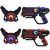 D'Arpèje - Laser Battle - Kit de Laser Game Infrarouge sans Fil - Compatible Piles rechargeables - Set 2 Joueurs Pistolets Laser + Plastrons - Bleu/Rouge - Intérieur/Extérieur - 60 Mètres de Portée -