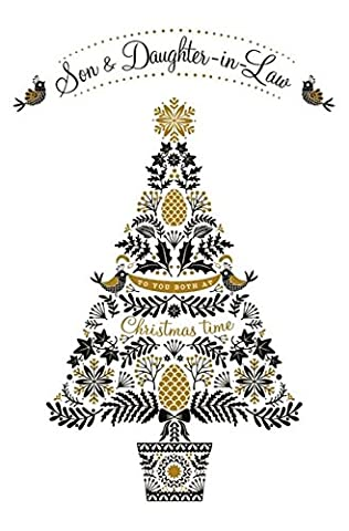 Weihnachtskarte–(aba6533)–Sohn und Schwiegertochter–Weihnachtsbaum–Geprägte