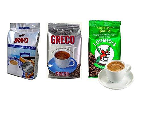 3x 100 g griechischer Mokka Kaffee Loumidis Greco Bravo Probier Set Mocca Cafe aus Griechenland + Probiersachet 10 ml Olivenöl aus Kreta