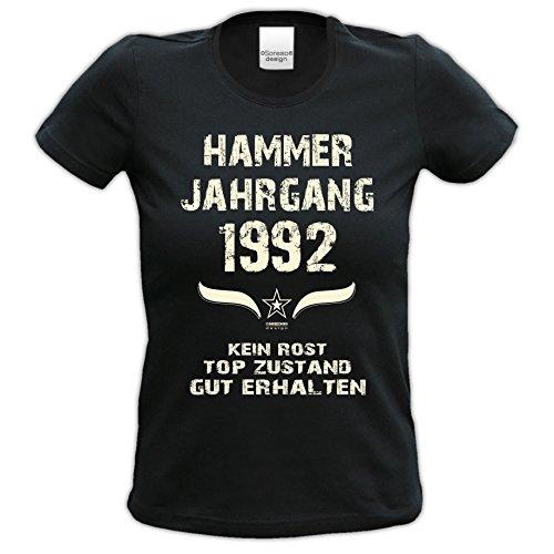 Originelles Geschenk für Frauen ::: Hammer Jahrgang 1992 ::: Geburtstagsgeschenk Weihnachtsgeschenk - lustiges Fun-T-Shirt Damen Mädchen Farbe: schwarz Schwarz