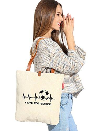 Vivo per calcio da donna So 'each Tela Borsa Shopper Shopping Bag