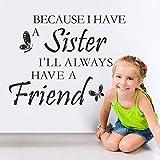 Die besten Freund-Zitat auf Leinwand - ELGDX Wandaufkleber Weil ich eine Schwester Habe Ich Bewertungen