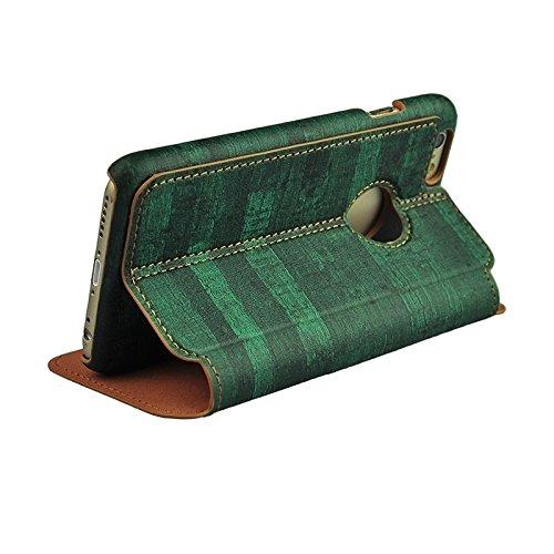 Wkae Case Cover Retro-Stil Holzmaserung Stitching-Leder-Kasten mit Halter für iPhone 6 &6s ( Color : Yellow ) Green