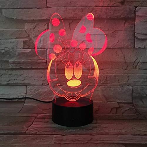 Lixiaoyuzz Nachtlampe Usb 3D Led Jungen Mädchen Kind Kinder Baby Geschenk Hologramm Dekorative LichterTischlampe NachtMinnie Mouse Abbildung