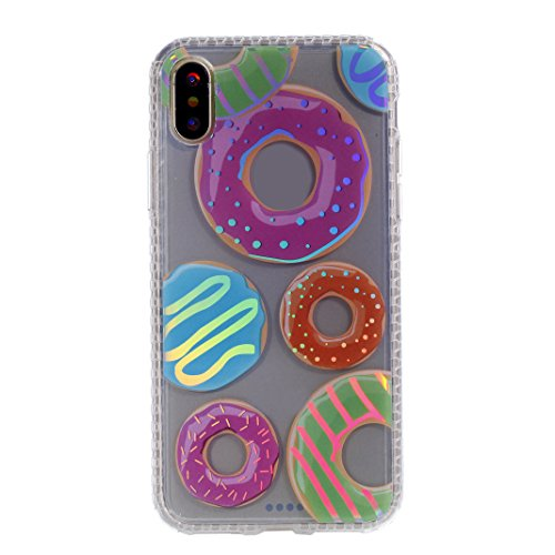 Coque iPhone X,Etui iPhone X Housse Rosa Schleife Ultra Slim Silicone Souple Housse[Peint Colorful] TPU Gel Transparente Case léger Fin Portable Telephone Bumper arriere Coque Protection Protective Sm Six