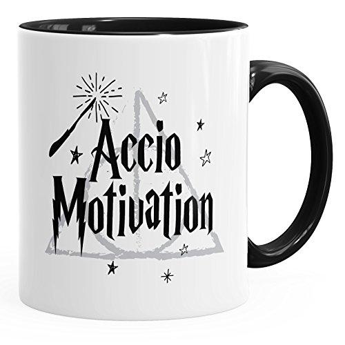 MoonWorks Kaffee-Tasse Accio Motivation Teetasse Keramiktasse Spruch-Tasse schwarz Unisize