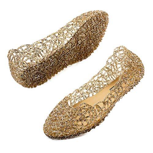 TTW Frauen Funkelnde Gelee Schuhe weiche Hohle Flache Ballett Sandalen Strand Sommer Hausschuhe,Gold,41