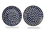 Bunzlauer Teller-Set 21,5 cm (Dekor Blau-Auge)