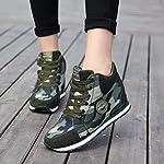 de La Mujer Camuflaje Zapatillas de Tacón Alto Ejército Verde Aumentar La Altura Zapatos 6.5cm Mujer Botas Cuñas 37