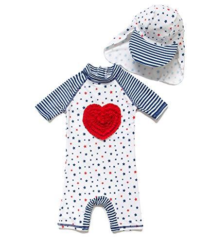 Baby Mädchen Ein stück Kurzärmel-Kleidung UV-Schutz 50+ Badeanzug MIT Einem Reißverschluss(Weiße-Liebe,3-6M)