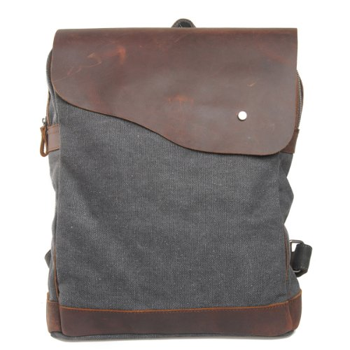 Canvas Leder Rucksack Backpack für Uni laptop Rucksack Reisetasche (dunkel grau)