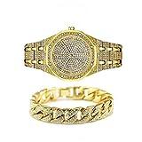 Jacklin-F Unisex Bling-Ed out Rotonda Mens Watch Diamante della vigilanza di Hip Hop Guarda con Corrispondenza 7.87' / 20cm ha ghiacciato Fuori Oro Cubano Bracciale-Argento Disponibile