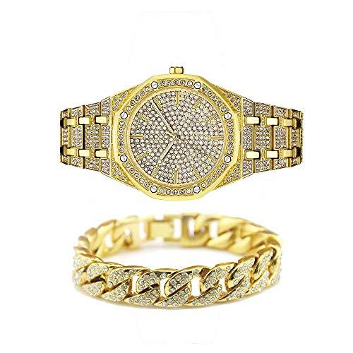 jacklin-f unisex bling-ed out rotonda mens watch diamante della vigilanza di hip hop guarda con corrispondenza 7.87 / 20cm ha ghiacciato fuori oro cubano bracciale-argento disponibile
