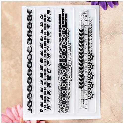 Kwan Crafts Ketten-Lineal mit Reißverschluss, klare Stempel für Kartenherstellung, Dekoration und DIY Scrapbooking