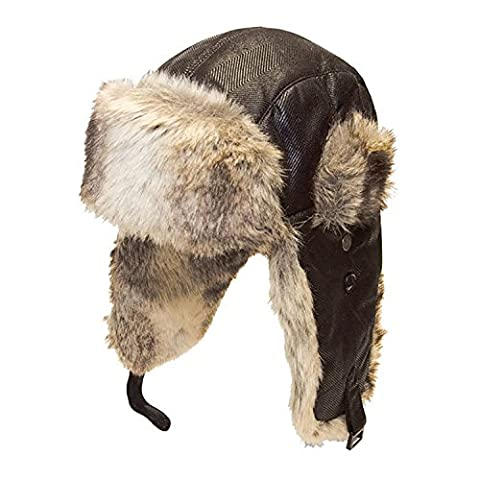 GIZZY® Unisex Adults Trapper Ushanka Hat with Herringbone Suede Effect