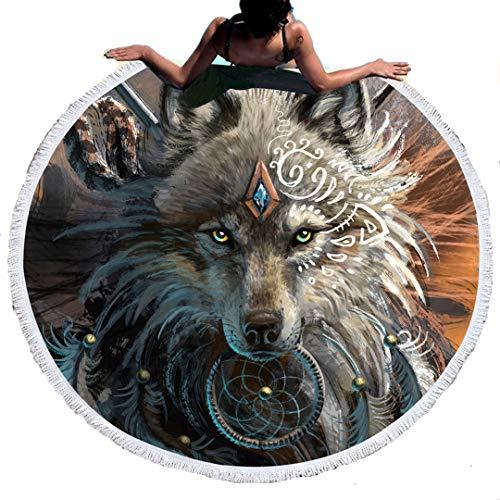 Stillshine Toalla de Playa Redonda Estilo Hippie, de Microfibra,Diseño Indio Bohemio,Ideal como Colcha,Tapiz Decorativo de Mandala,150 cm, Súper Absorbente (Guerrero Lobo)