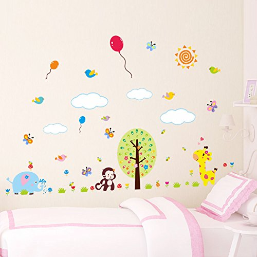 iraffe Schmetterling Niedlich Affe Luftballons Abnehmbare Wandsticker Wandtattoo, Kinder Kids Baby Hause Kinderzimmer DIY Dekorativ Kunst Wandaufkleber (Giraffe Luftballons)