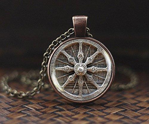 Dharma Rad Halskette, Buddhismus Halskette, Schmuck, Heilige Geometrie Halskette, Meditation Halskette