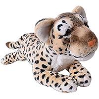 Plüschtier Leopard weiß gefleckt Raubkatze liegend Plüschfell Dekoration 80cm