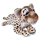 TE-Trend Plüschtier Leopard braun gefleckt Raubkatze liegend schleichend Plüschfell Dekoration 60cm
