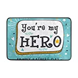 Walnut Cake Area Rug Happy Father's Day You Are My Hero Lightweight Doormat 23.6x15.7 inch, Memory Sponge Indoor Outdoor Decor Living Room Bedroom Office Kitchen