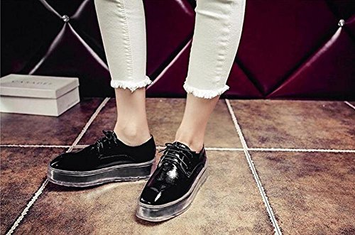 Beauqueen Nouveau talon transparent Ascenseur Loafers Plate-forme Cuir en bout-de-pied Casual Party Mode Chaussures UE Taille 34-39 Black