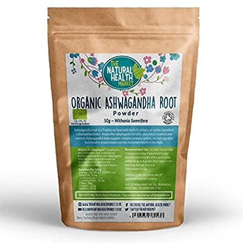 Organic Ashwagandha Root Powder By The Natural Health Market • Soil Association Certified Organic • RAW Ayurvedic Herb • Potent Adaptogen