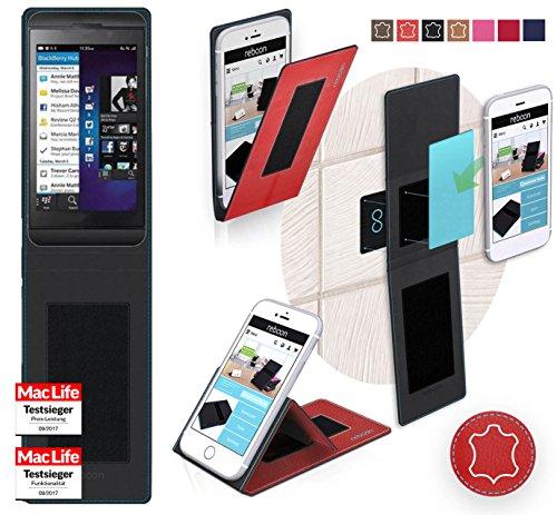 lackBerry Z10 Tasche Cover Case Bumper | Rot Leder | Testsieger ()