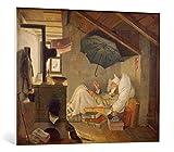 kunst für alle Leinwandbild: Carl Spitzweg Der arme Poet - hochwertiger Druck, Leinwand auf Keilrahmen, Bild fertig zum Aufhängen, 100x80 cm