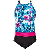 Oyedens Womens Badeanzug Double up Tankini Top Sets Bademode Blume Plus Size