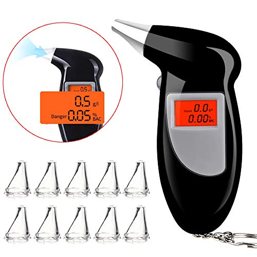 Faburo Alcoholimetro Homologado con 10 Boquillas, Probador de Alcohol portátil, Alcoholímetro Professional...