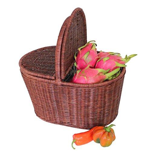 Xuan - worth having Brown Rattan Hand Basket Accueil avec couverture Alimentation Fruit Basket Panier pastoral créatif Panier de pique-nique en plein air Plateau en rotin Cadre en acier fait main ( taille : Les petites )