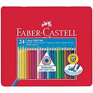 Faber Castell 112423 - Farbstifte Colour GRIP 2001, 24er Metalletui