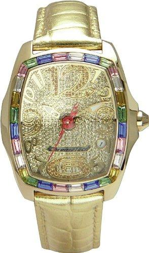 Chronotech MILLIONAIRE - Reloj analógico de mujer de cuarzo con correa de piel dorada
