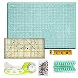 Alfombrilla de corte A3 (45x30 cm) + Cortamoquetas + Patchwork de regla + Cinta métrica + Abrazadera de plástico (20 unidades) + Alfileres (40 unidades), 6 piezas Juego de patchwork, para cortar Set