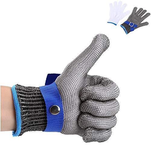 Sicherheitsschnittfester Handschuh aus 316L Edelstahl mit Draht für Jagd, Angeln, Metzger, langlebige Baumwolle, hohe Leistung, Level 5 Schutz, Größe M -