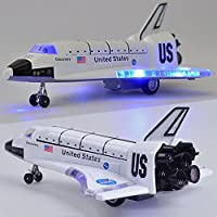 Ocamo 8 Inch Alloy Force Control Space Shuttle Model with Light & Sound Toy Plane Gift for Children