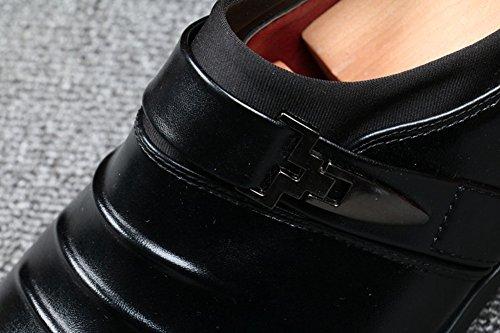 Anlarach Hommes Gents Occasionnels Noir Smart Formal Business Dress Glisser Sur Chaussures Ascenseur Noir