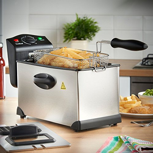 51g9Mm6xGcL. SS500  - VonShef Deep Fat Fryer, 3 Litre with Adjustable Temperature Control, Observation Window and Removable Basket for Easy Clean – Stainless Steel