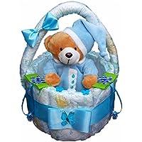 Windeltorte, Korb aus Windeln blau, Geburt, Taufe, Geschenk für Jungen, Baby Party, Pampers Gr.3, Kuscheltier-Bär