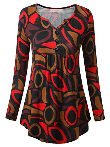 Printed V-neck Tee (WAJAT Damen Langarmshirt Henley V-Ausschinitt Vintage Basic Schwarz-Printed 2XL)