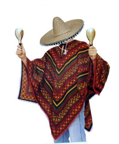 Mexiko Poncho und Edler Sombrero im Set - Mexikaner Kostüm