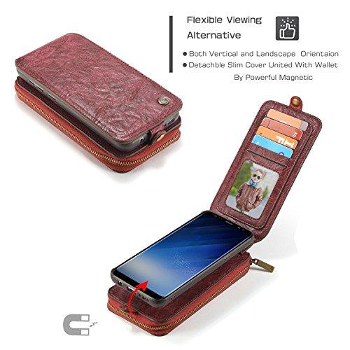 Wkae CaseMe Leder Brieftasche Case mit Magnetic PC + TPU Back Cover, abnehmbare Folio, Bargeld Halter Zipper Design für Samsung Galaxy S8 ( Color : Black ) Red